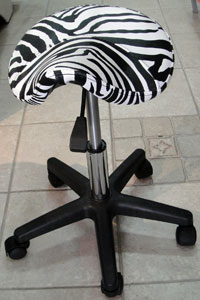 Saddle Stool with Zebra Print
